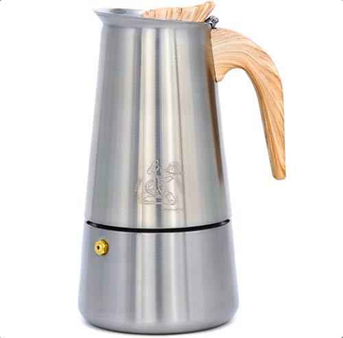 Walter's Brotlädele Espressokocher Edelstahl 4 - 9 Tassen (200ml - 450ml) | Espressokanne | Mokkakanne| Kaffeekocher mit hitzebeständigem Bakelit Griff & Anleitung | Aluminiumfrei (6 Tassen (300 ml))