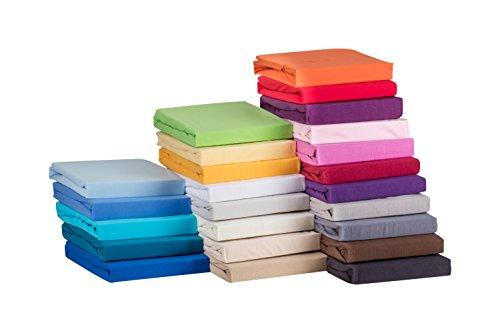 S.Ariba Jersey Spannbettlaken 140x200 bis 160x200 cm Cream aus 100% Baumwolle