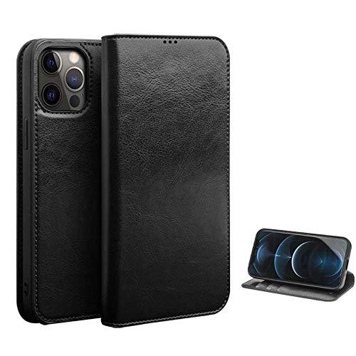 Funda de teléfono con tapa de piel auténtica para Apple iPhone 13 Pro Max (2021) de 6,7 pulgadas, función atril, antigolpes, color negro