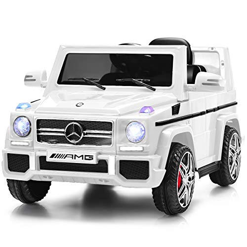 Costzon Kids Ride On Car, 12V Battery Powered Electric Vehicle, Parental Remote Control & Manual Modes, Music, Horn, LED Headlights, USB MP3 Functions (Modern White)