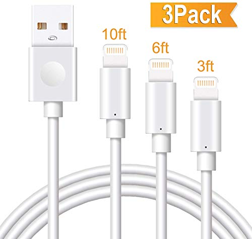 Marchpower iPhone Charger Cable 3Pack 3/6/10FT MFi Certified Lightning Cord USB A Fast Charging Compatible with iPhone 12 SE 11 Pro MAX X Xs XR 8 Plus 7 Plus 6S Plus 5S SE iPod iPad Pro Touch Mini