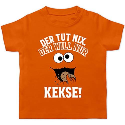Sprüche Baby - Der TUT nix. Der Will nur Kekse! - weiß/schwarz - 3/6 Monate - Orange - Keks Monster - BZ02 - Baby T-Shirt Kurzarm