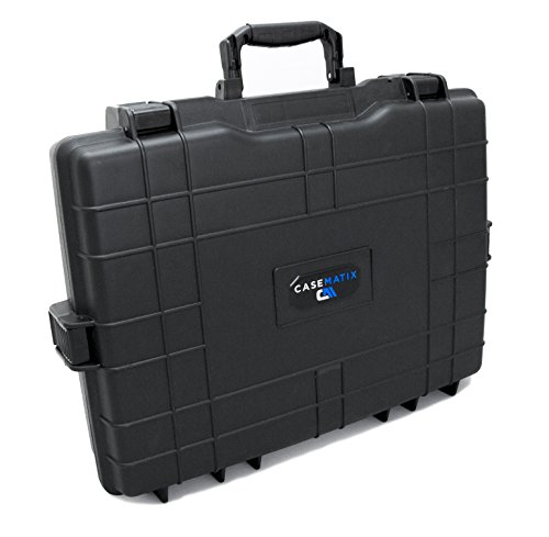 """CASEMATIX Impact Resistant Airtight Waterproof 15.6"""" or 17"""" Hard Laptop Case Bag – Holds Laptop , Keyboard , Mouse , Charger and More The interior of the case has a shock absorbing convoluted foam top and four separate flat foam middle layers to adju..."""