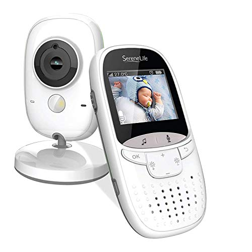 """Video Baby Monitor Long Range - Upgraded 850' Wireless Range Camera, Night Vision, Temperature Monitoring and Portable 2"""" Color Screen - Serenelife SLBCAM11 (Grey)"""