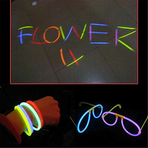 Hpybest - Juego de 100 pulseras de colores que brillan en la oscuridad, con barra de fluorescencia, para festivales, fiestas de Navidad, juguete para niños