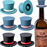 6 Pieces Magic Hat Wine Stoppers Silicone Wine Stopper Reusable Decorative Red Wine Seal Stopper Cap for Wine Beverage Soda Champagne Beer Graduation Gift, 3 Colors