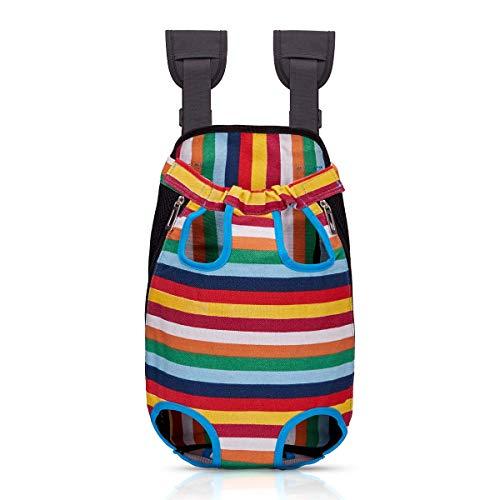 Bwiv Rucksack für klein Hunde Atmungsaktiv Leicht Rucksäcke Haustier Faltbar Brust Tragetasche Hunderucksack bis 13kg Hundetasche mit Reißverschluss Puppy Bag Outdoor Wandern Streifen XL