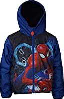 Marvel Spiderman Veste légère à capuche pour garçon Veste coupe-vent avec sac de rangement. Deux poches, tirette en caoutchouc. Doublure intérieure : micro polaire. 100 % polyester.