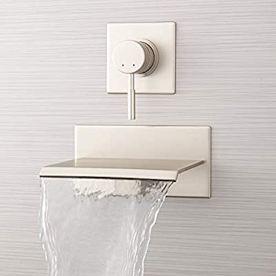 """Signature Hardware 924617 Lavelle 6-1/2"""" Waterfall Wall Mounted Tub Filler with Metal Lever Handle Diverter"""