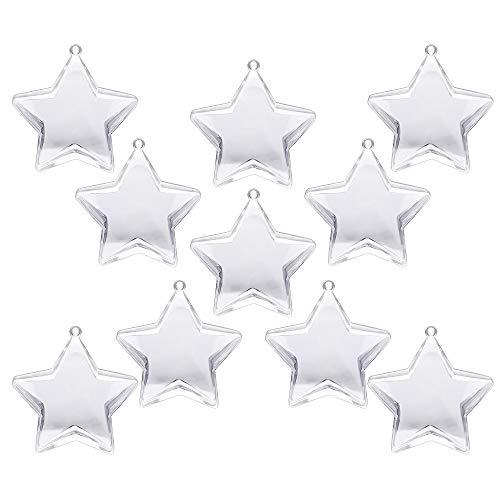Hysagtek 10 Sets 80mm DIY Fillable Balls Clear Plastic Ornaments Balls Christmas Tree Ornament Bauble Decor (Star Shape)