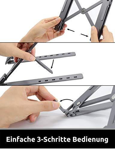TATE GUARD Laptopständer aus Aluminium,Multi-Winkel verstellbar,6-Fach höhenverstellba,Klappbar Stand,für 10 bis 17 Zoll Kompatibel mit M'acBook/Tablet/Tab Laptop PC, Microsoft Surface Pro,Space Grey
