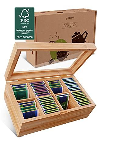 goodspot® Premium Teebox aus FSC-zertifiziertem Bambusholz mit 8 Fächern 30 x 19 x 9 cm Teekiste mit luftdichtem Magnetverschluss Tee Box mit großer Sichtscheibe aus Glas