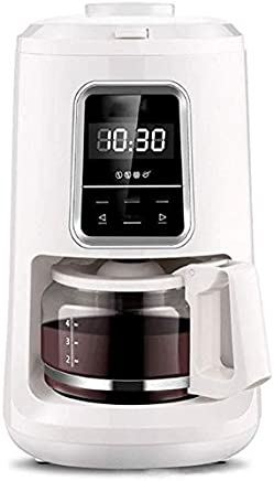 AMAZACER Household Americano Cafe Machine Auto Diy Drip Coffee Maker Cooker Home Tea Pot 0.6 L Auto Grinder Coffee Bean Large Size Touch Screen Three Colors To Choose From,White (Color : White)