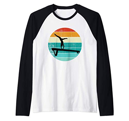 Gymnastic Game Gift Retro Vintage 70s 80s Gymnastic Player Camiseta Manga Raglan