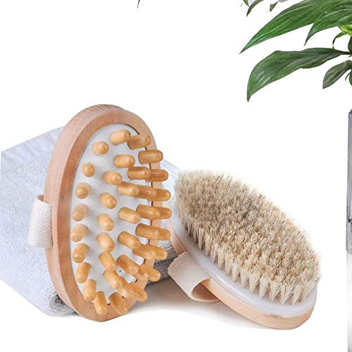 JSTHT 2 Packs,Dry Brushing Body Brush With Massage Brush, for Removing Dead Skin and Toxins, Dry Body Massager Brush for Cellulite And Lymphatic,Body Scrubber Shower Brush for Back(Massage brush)