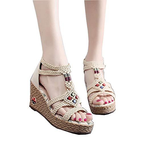 Zapatos De Verano Para Mujer, Viento Nacional, Sandalias Romanas De Cuña De Paja De Fondo Grueso, Tacones Altos, Sandalias Perezosas Con Cremallera Trasera
