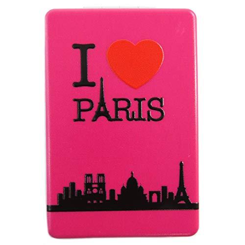 Les Trésors De Lily [Q3107] - Miroir de poche 'I love Paris' fuschia - 8.5x5.5 cm