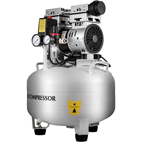 VEVOR Air Compressor 7.9 Gallon, Quiet Air Compressor 1.1 HP, Pancake Compressor Steel Tank 850W, Garage Air Compressor 115 PSI, Ultra Quiet Compressor for Medical Dentistry, Whit