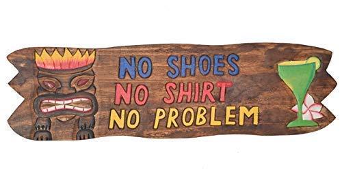 Interlifestyle Tiki bord 60 cm - No Shoes No Shirt No Probleem - Deco voor uw lounge gebied Tiki Zuidzee stijl houten bord