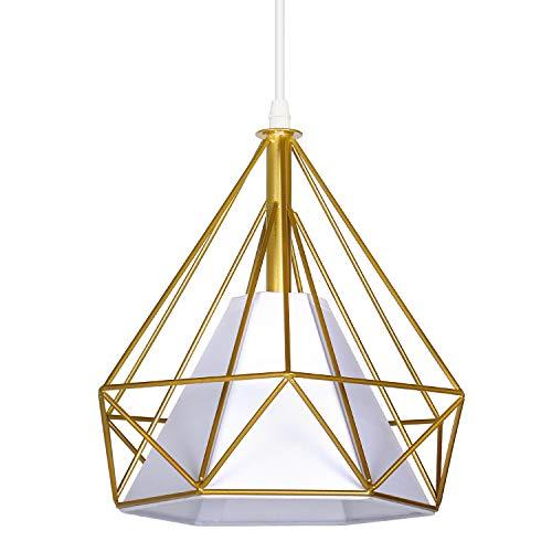FAISHILAN - Lampadario da soffitto in stile industriale moderno con gabbia in metallo, colore: oro