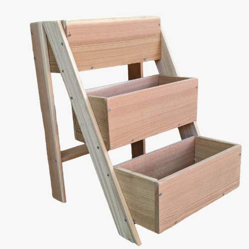 Vertical Raised Garden Bed, 3 Tiered Planter Stand, Balcony Planter, Outdoor and Indoor Garden Planter or Flower Box, Handcrafted in America from Cedar Wood