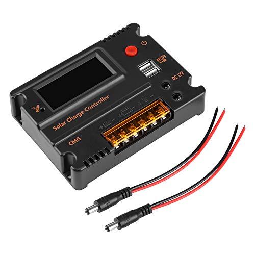 Controlador de carga y descarga solar, Wilecolly DC 12V / 24V 10A Controlador inteligente de carga de panel solar Regulador de batería Dual USB