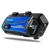 Fodsports M1S Plus Interfono Moto Bluetooth con Condivisione di Musica, Casco Moto Cuffie, Moto Auricolare Bluetooth con Microfono Muto,Comunicazione Bluetooth per Moto Fino a 8 Riders(blu)