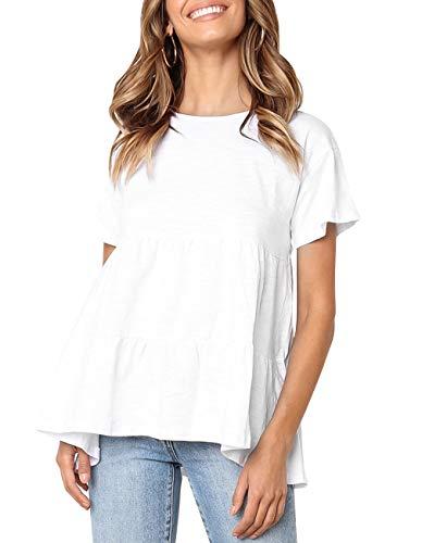 Women Summer Short Sleeve Loose T Shirt Babydoll Peplum Tee Tops Casual Blouse Shirts (z1 White, XL)
