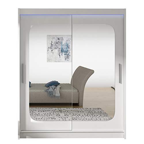 Schwebetürenschrank Westa XII mit Spiegel, Breite: 150cm Kleiderschrank mit Kleiderstange, Einlegeboden Modern Design Schlafzimmer Diele & Flur Garderoben (Weiß + Spiegel, mit RGB LED Beleuchtung)