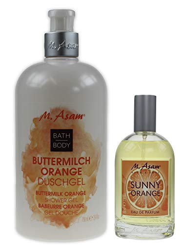M. Asam® Duschgel Buttermilch Orange 750ml (Spender) + SUNNY ORANGE Eau de Parfum 100ml