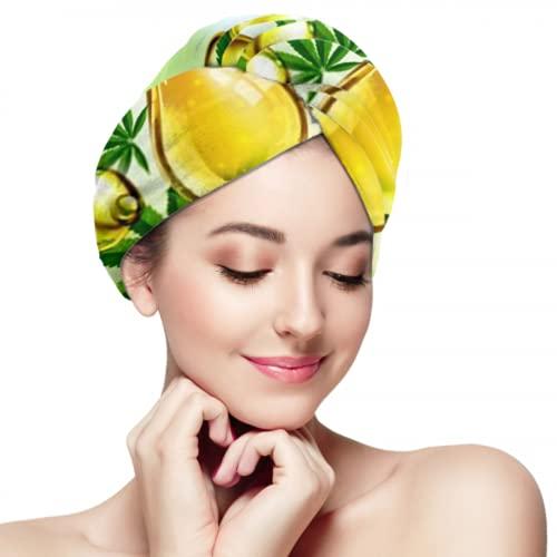 Toalla de microfibra para el cabello para mujeres, marihuana, gota de aceite de cannabis, verde, secado rápido, antifrizz, turbante para la cabeza, súper absorbente, suave