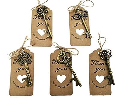 50pcs Skeleton Key Bottle Opener Wedding Party Favor Souvenir Gift with Escort Tag and Jute Rope(Gun Black Tone,5 styles)