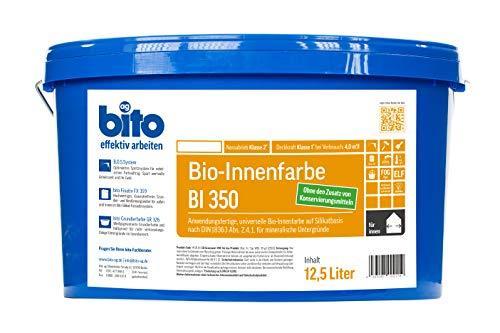 bito BI 350, Bio Innenfarbe Wandfarbe auf Silikatbasis matt weiß, 12,5 Liter, allergikerfreundlich, ohne Zusatz von Konservierungsmitteln
