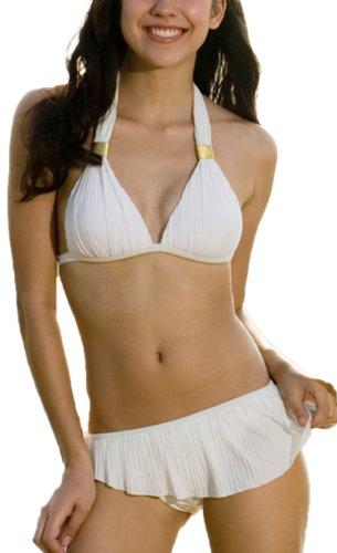 r-dessous Neuer moderner Neckholder Bikini woll-Weiss mit Rock und Slip in einem Groesse: L