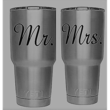 Mr. Mrs. Decal Set for - Yeti Tumbler - Decal - Ozark Trail Tumbler - Black or White Decals - 3.7  H X 3.2  W