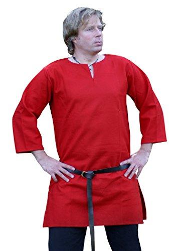 Ulfberth Longue tunique rouge M L XL LARP costume médiéval homme femme robe (L)