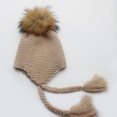 2019 Kinder Winter Warm Waschbär Pelz Strick Hüte Mädchen Jungen 100% Echtpelz Pompon Mützen Mütze Kinder Häkeln Baby Hüte Mütze Mützen Khaki