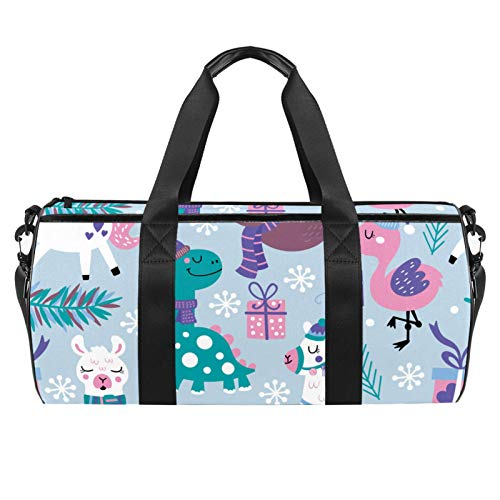 Travel Beach Bags, Large Sport Gym Overnight Duffle Sloth Alpaca Dinasour Winter Print Shoulder Bag with Dry Wet Pocket