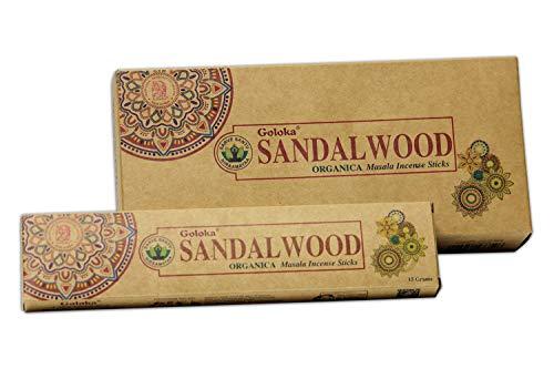 Goloka Sandalwood Organic Masala, Palos de Incienso, 6 Cajas de 15 Gramos