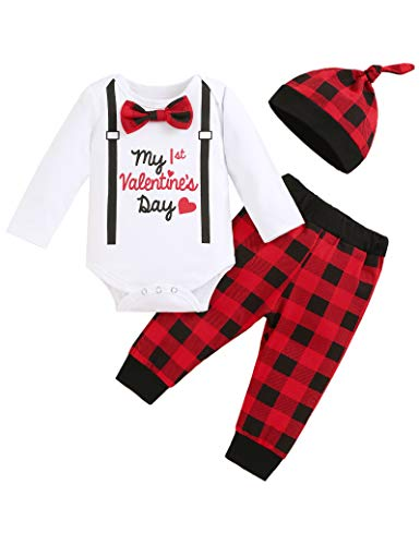 My 1st Valentine's Day Newborn Baby Boys Outfits Gentleman Outfits Bow-Knot Romper Top Grid Pant with Hat Set 6-9 Months Red