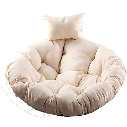 qwert Wiszące jajko hamak poduszki na krzesło huśtawka poduszka na fotel bujany, poduszka wiklinowa dekoracja z poduszką zdejmowalna nadaje się do prania bez krzesła - kremowo-biała D105 cm (41 cali)
