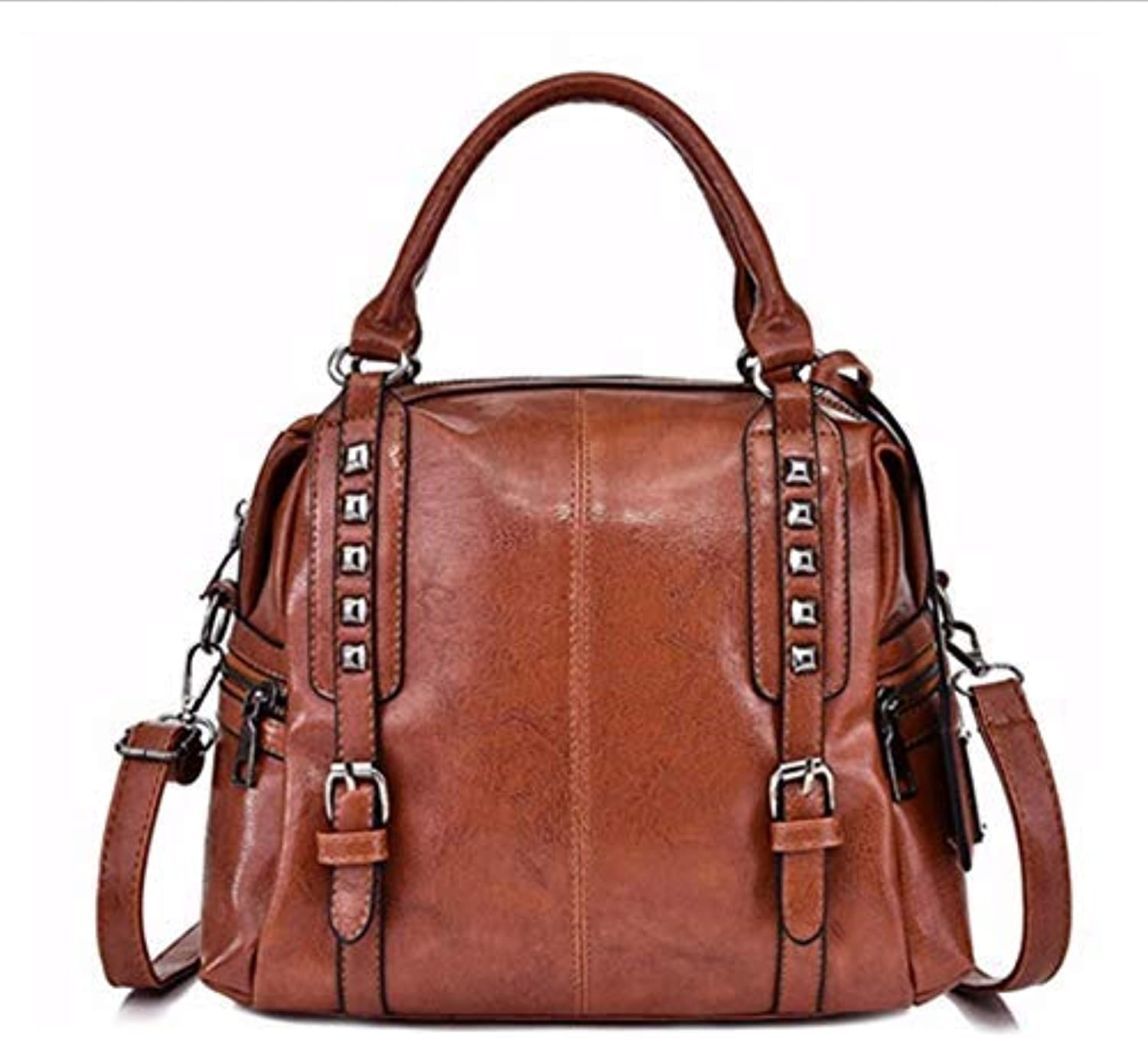 JQSM All-Match High-Capacity Casual Totes Solid color Pu Leather Shoulder Bags for Women Rivet Decor Crossbody Bag for Lady