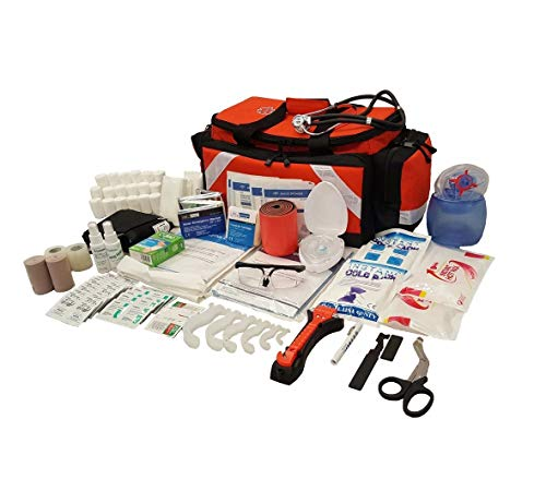 LINE2design First Aid Kit - Emergency Response Tactical Trauma Bag - Elite Paramedic EMS First Responder Medical Complete Rescue Supplies - Orange