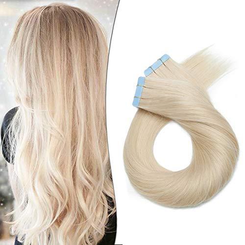 Extension Adesive Capelli Veri Biadesivo Biondi 20 Ciocche Tape in Human Hair Extensions Biadesive 50g Capelli Lisci Naturali 40cm 60# Biondo Platino
