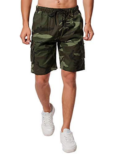 Herren Shorts, Herren Cotton Cargo Shorts Kurze Hose Bermuda Sweatpant Camouflage Sommer Shorts (Grün, M)