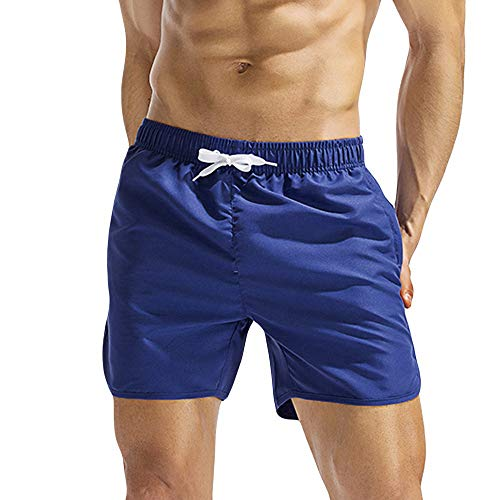 Hmlai Clearance Men Swim Trunks Quick Dry Big and Tall Solid Color Swimwear Bathing Suits Beach Board Shorts with Pockets (L, Blue)