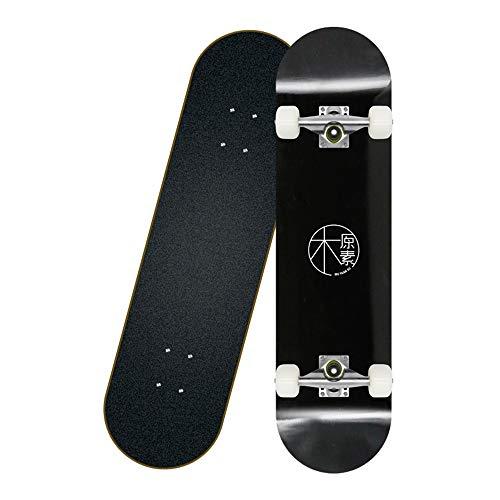 Skateboard Komplett Board Funboard mit 7-lagigem Ahornholz und ABEC-11 Kugellager 95A Rollenhärte 31 x 8 Zoll, für Kinder, Jugendliche und Erwachsene,Schwarz