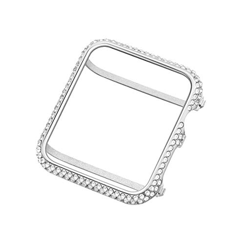 UKCOCO Compatible Apple Watch 42mm Diamond Case, Aluminum iWatch Bezel Metal Cover Crystal Rhinestone Protective Protector Cover for iWatch Series 1/2/3 Sport and Edition (42mm Silver)