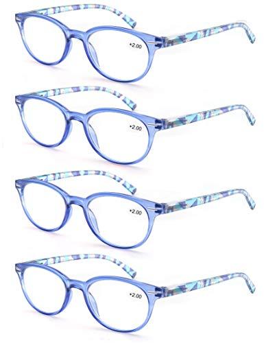 Un Pack de 4 Gafas de Lectura 1.75/Gafas para Presbicia Mujeres,Buena Vision Ligeras Comodas,Vista de Cerca/Vista Cansada