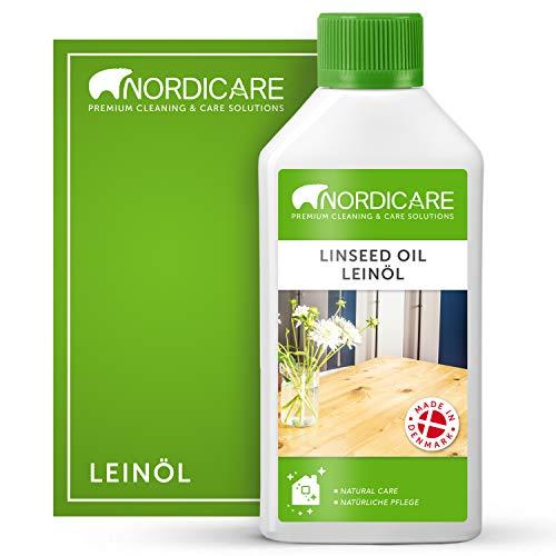 Nordicare Leinöl [500ml] für Holz zum Holzschutz I Leinöl Firnis Holzöl für Innen I Gekochtes Leinöl für Möbel Holz Öl, Leinenöl Holz